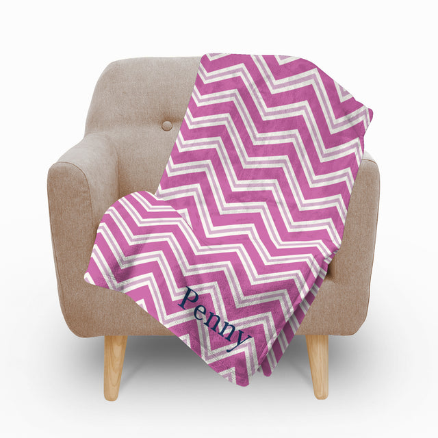 Chevron Pink Fleece Blanket - milogiftshop