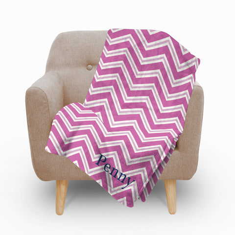 Chevron Pink Fleece Blanket