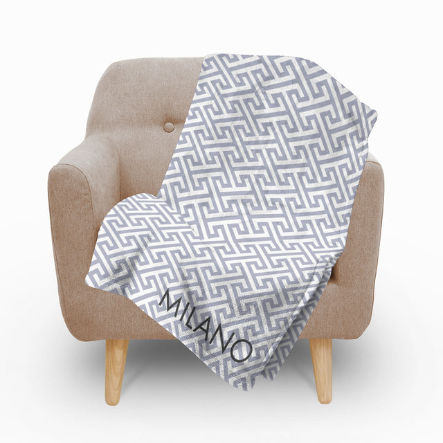 Mykonos Grey Fleece Blanket - milogiftshop