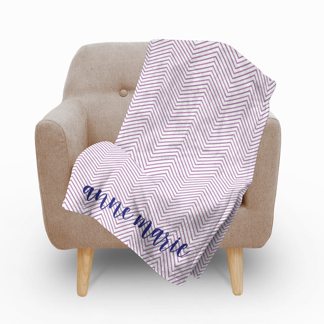Chevron Plum Fleece Blanket - milogiftshop