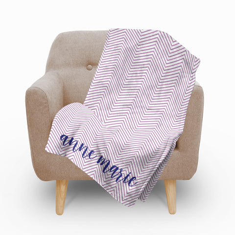 Chevron Plum Fleece Blanket