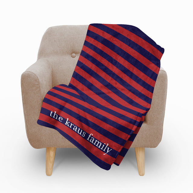 Red Blue Stripes Fleece Blanket - milogiftshop