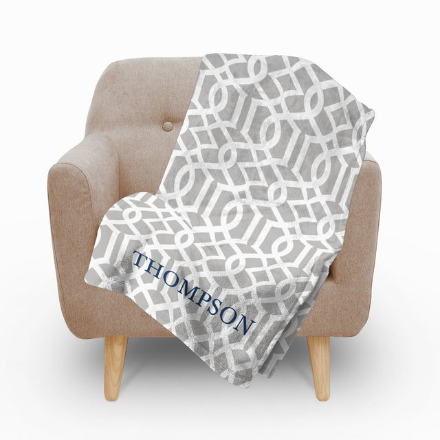 Trellis Grey Fleece Blanket - milogiftshop
