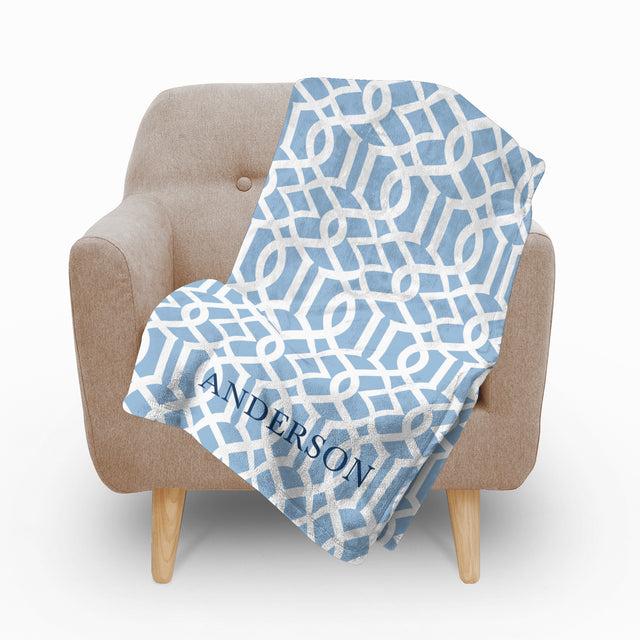 Trellis Blue Fleece Blanket - milogiftshop