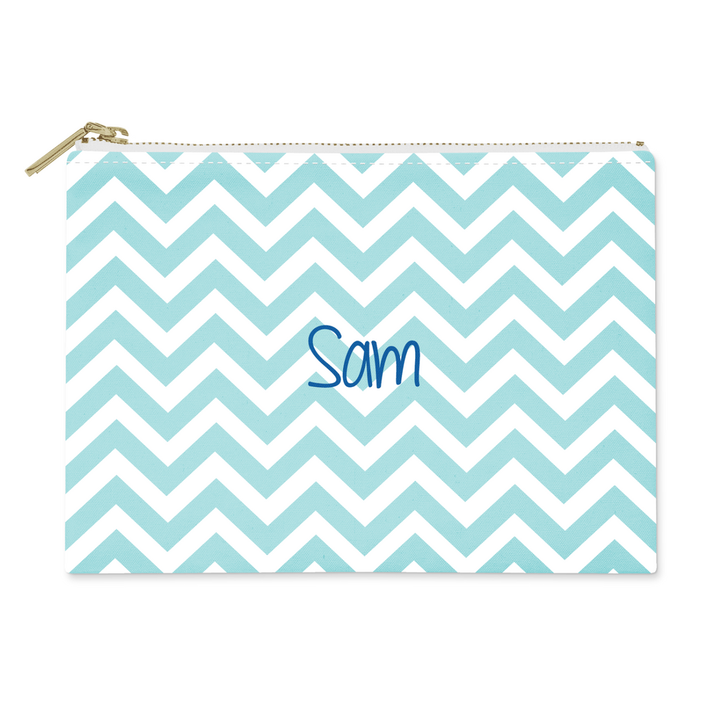 Blue Chevron Canvas Flat Pouch - milogiftshop