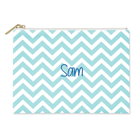 Blue Chevron Canvas Flat Pouch
