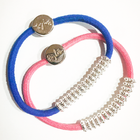 Embellished Silver Pink Blue Hair Band Bracelets