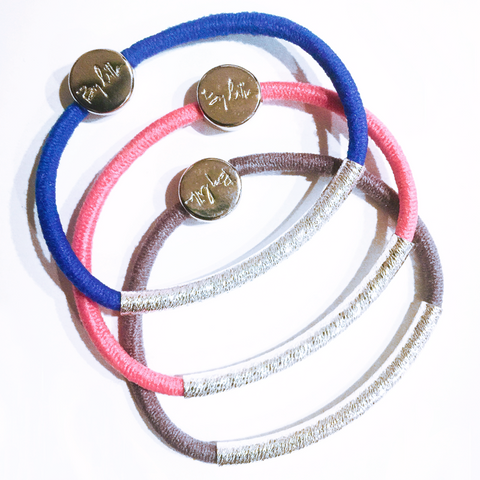 Bright Totally Tubular Hair Band Bracelet Stack