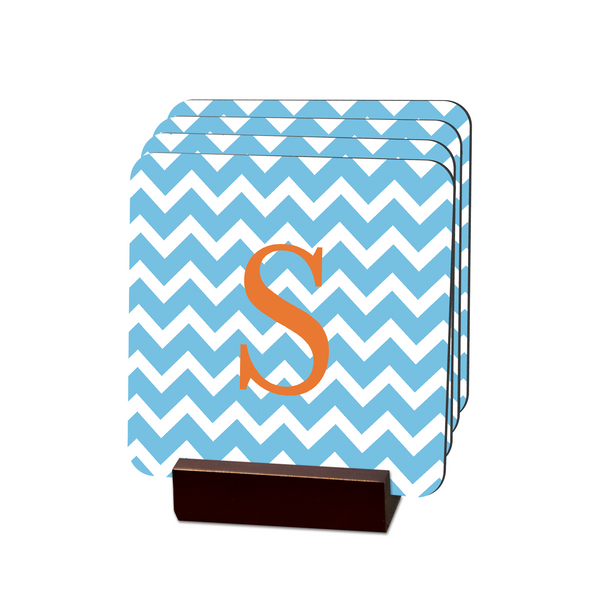 Aqua Chevron Coasters - Multiple Personalization Options Available
