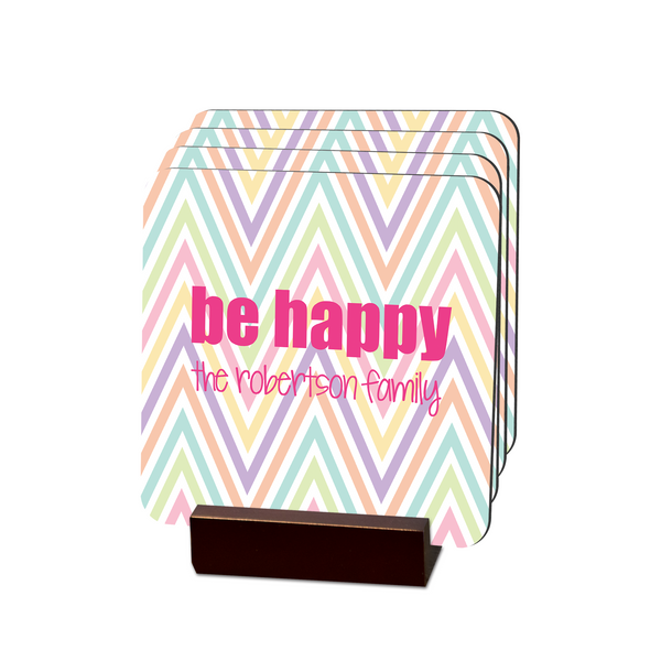Be Happy Chevron Coasters