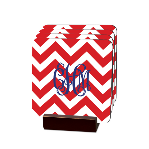 Nautical Chevron Coasters - Multiple Personalization Options Available