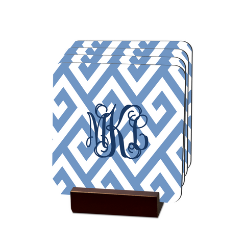 Santorini Blue Coasters - Multiple Personalization Options Available