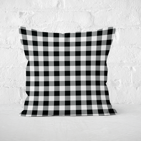 Black Plaid Indoor Pillow