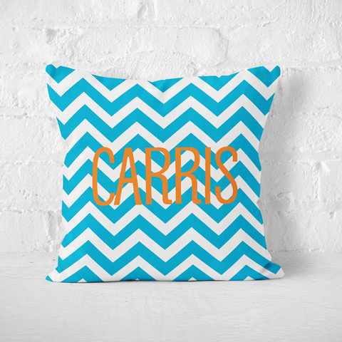 Aqua Chevron Indoor Pillow