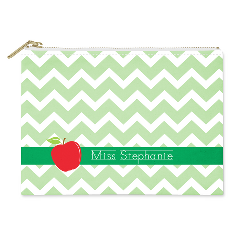 Chevron Apple Canvas Flat Pouch