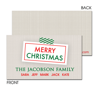 Christmas Linen Enclosure Card