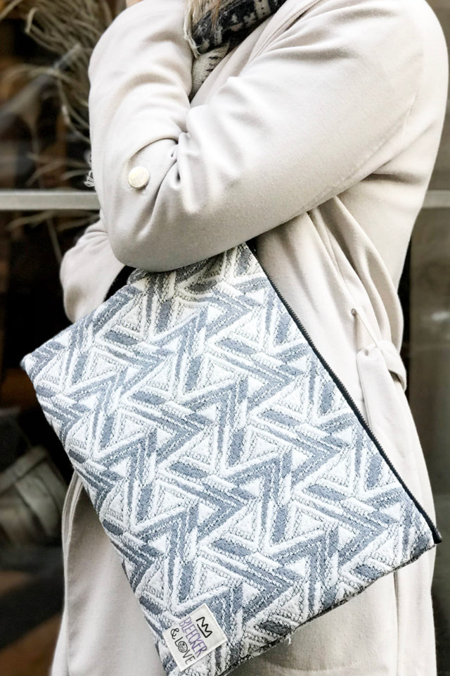 Silver Zig Zag Flat Pouch - 2 Sizes Available