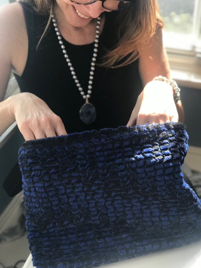 Midnight Blue Faux Fur Pouch- 2 Sizes Available