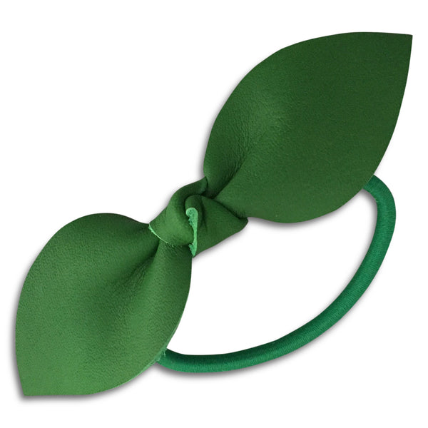 Green Leather Bow Pony Tail Holder
