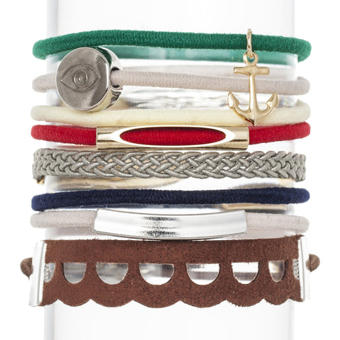Olive Hair Band Bracelet Stack