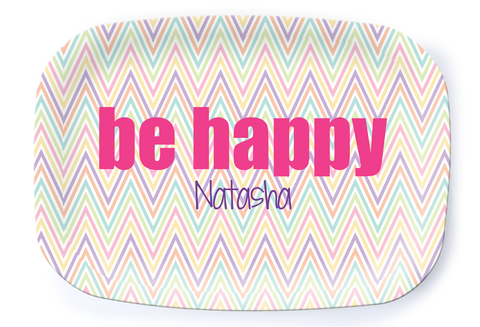 Be Happy Chevron Platter