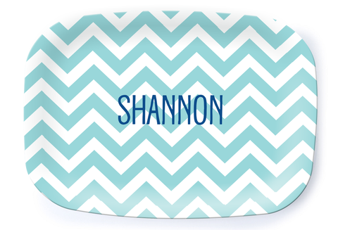 Light Blue Chevron Platter - Multiple Personalization Options Available