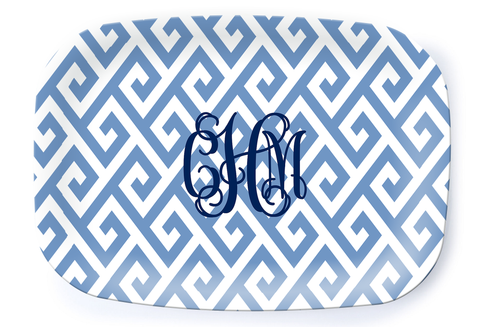Santorini Blue Platter - Multiple Personalization Options Available