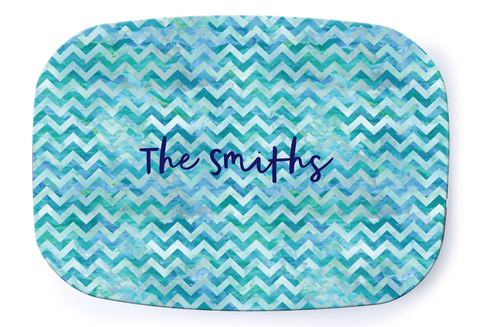 Blue Chevron Platter