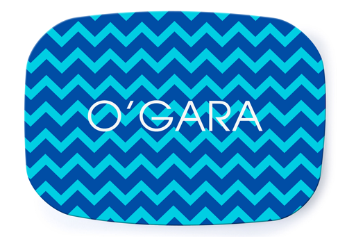 Chevron Blue Platter - milogiftshop