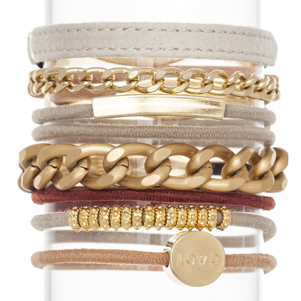 Classic Neutrals Hair Band Bracelet Stack