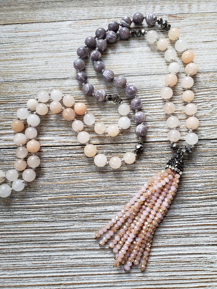 Hand Made Pearl and Quartz Pave Tassel Pendant - milogiftshop