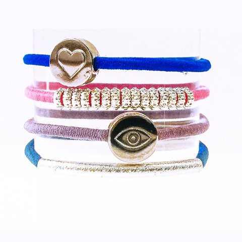 Preppy Mati Hair Band Bracelet Stack