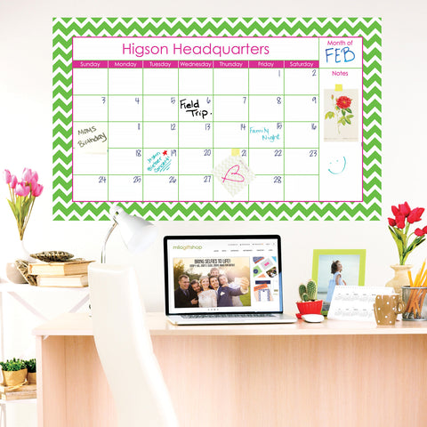 Chevron Green Large Monthly Calendar