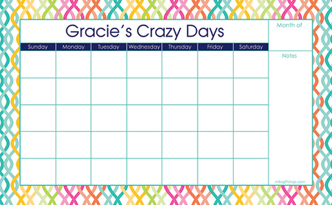 Colorful Trellis Large Monthly Calendar