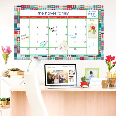 Madras Blue Large Monthly Calendar