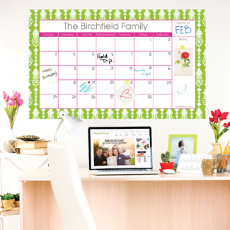 Mira Green Large Monthly Calendar