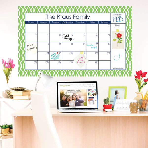 Trellis Green Large Monthly Calendar