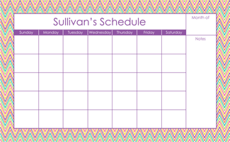 Zig Zagging Large Monthly Calendar - milogiftshop