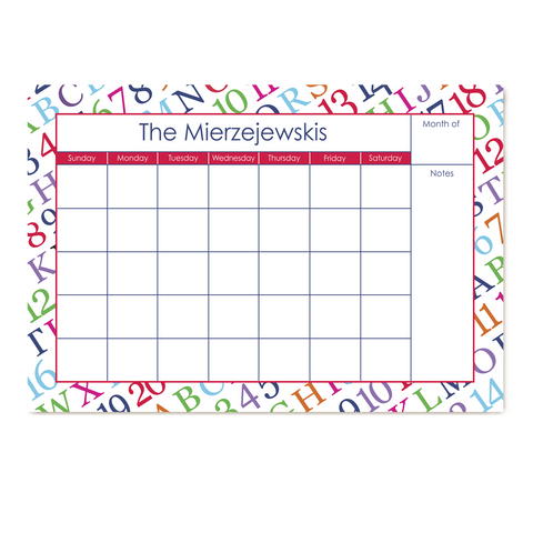 ABC Numbers Small Monthly Calendar
