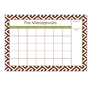 Santorini Brown Small Monthly Calendar