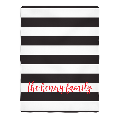 Black Stripes Fleece Blanket