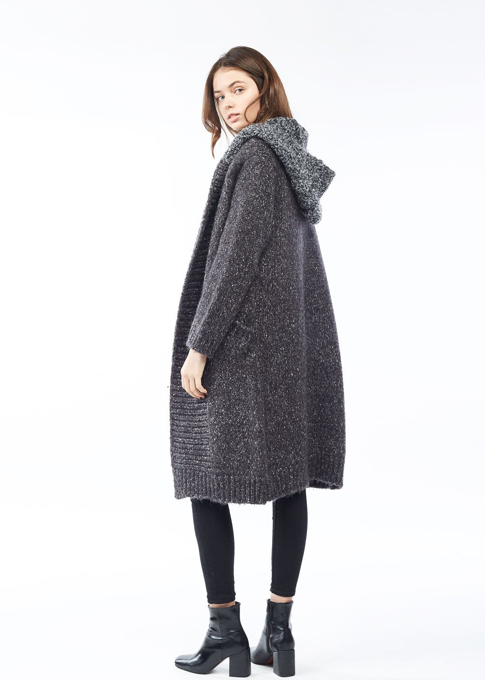 Charcoal Chunky Hoodie Heather Cardigan - milogiftshop