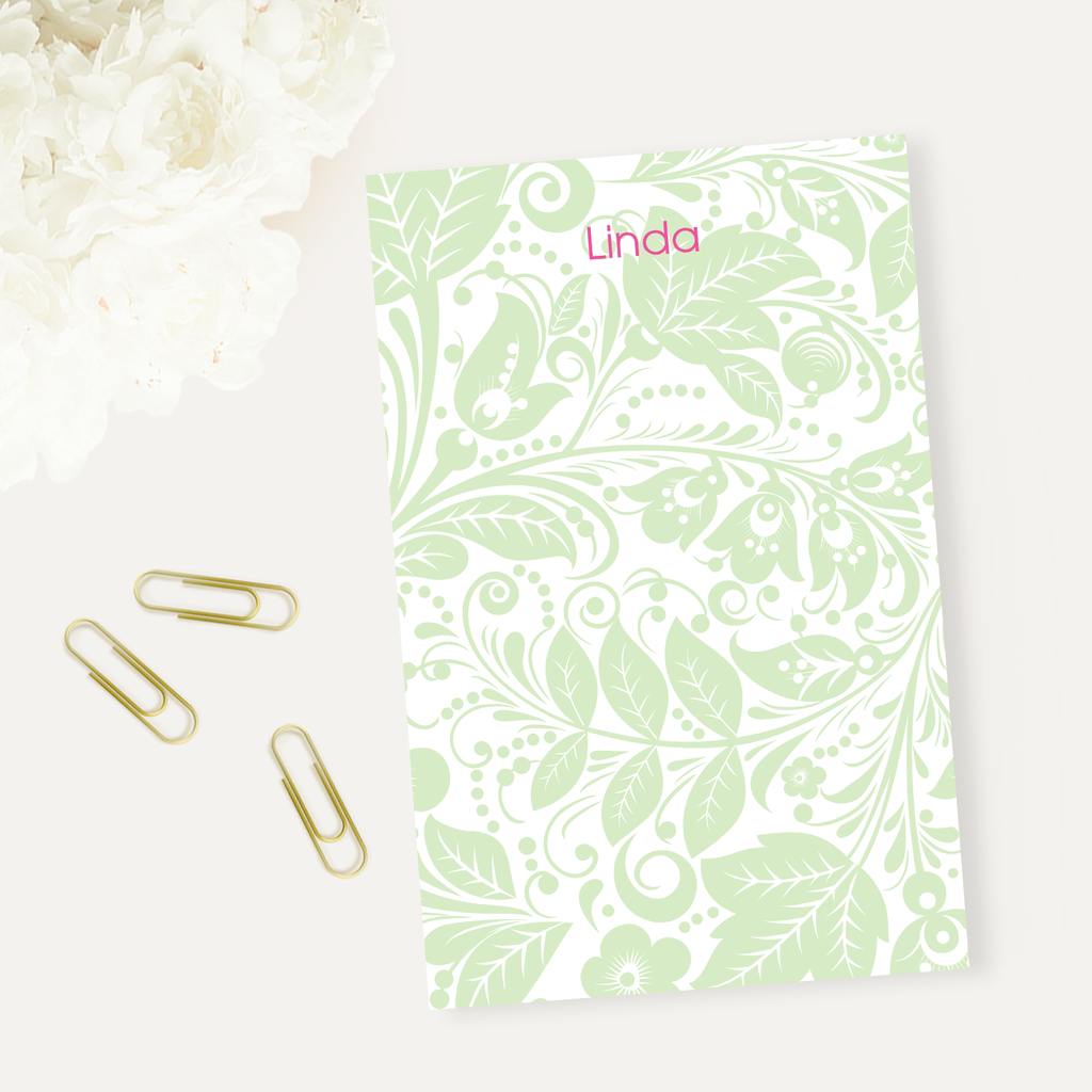Paisley Green Notepad