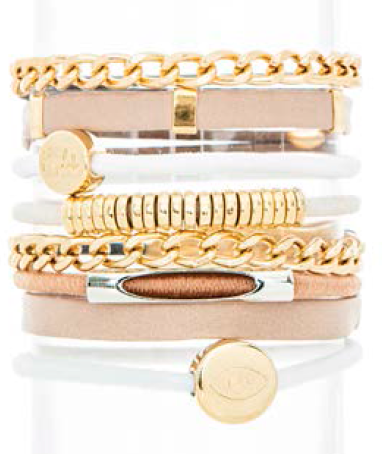 Neutral Links Hair Band Bracelet Stack