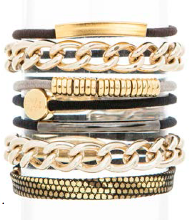 Gold Links Hair Band Bracelet Stack