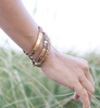 Gold Leather Hair Band Bracelet Stack