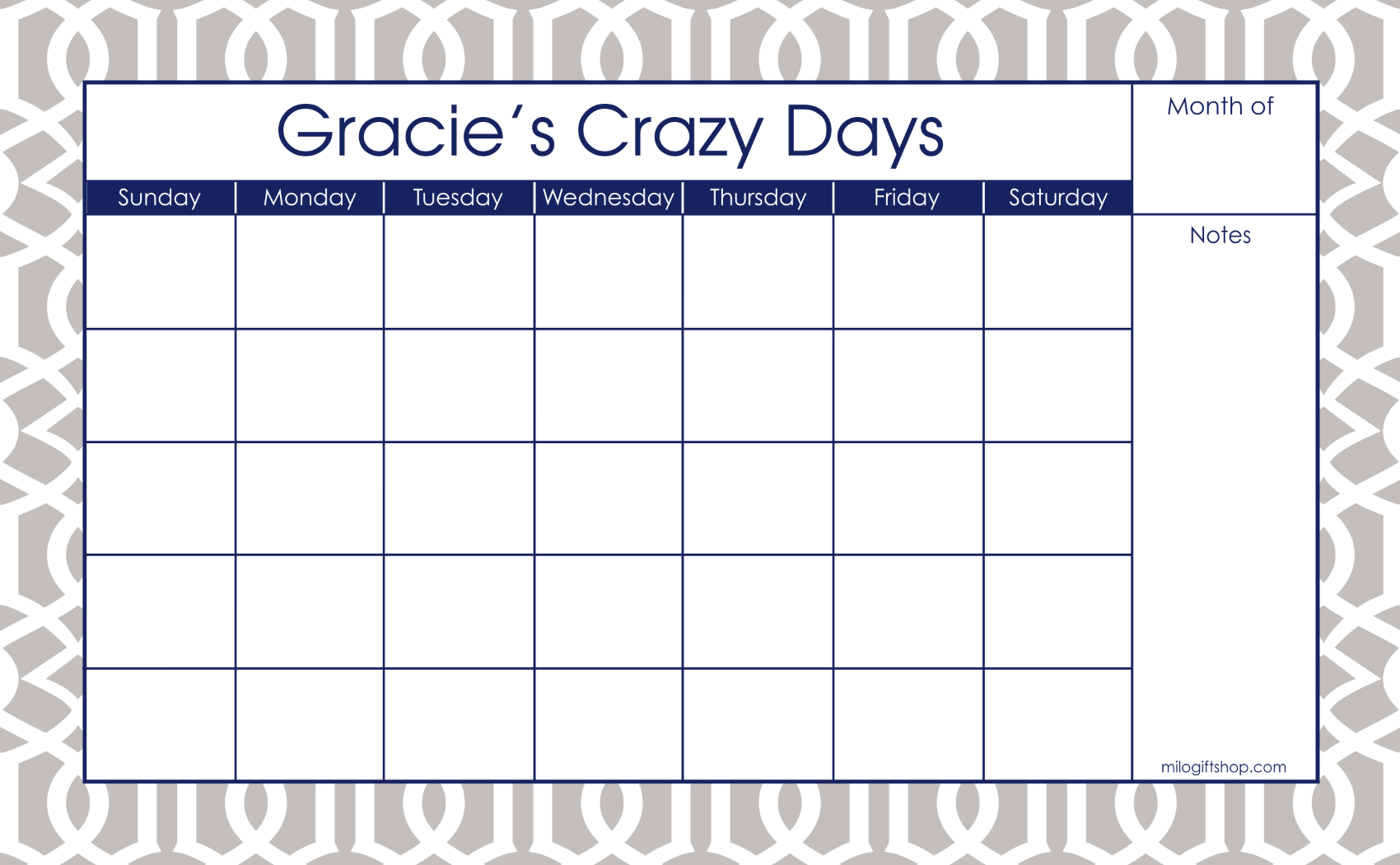 Trellis Grey Large Monthly Calendar - milogiftshop