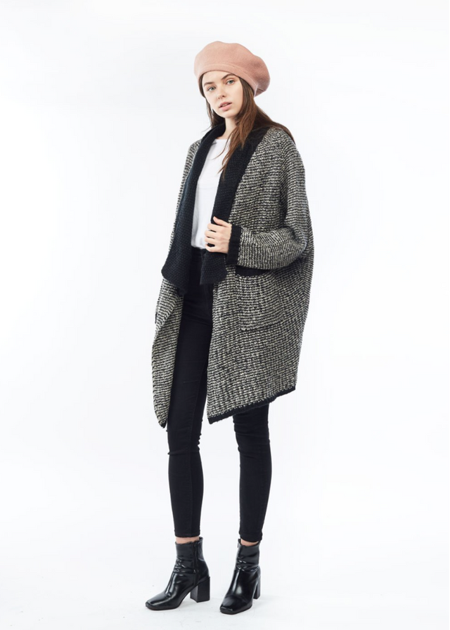 Loose Wool Cardigan - Black