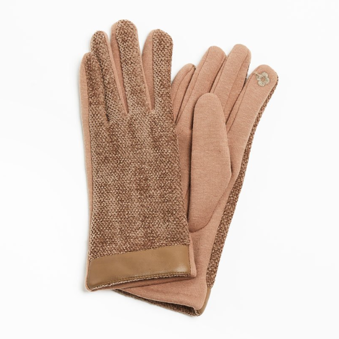 Leather Trimmed Chenille Gloves - Tan