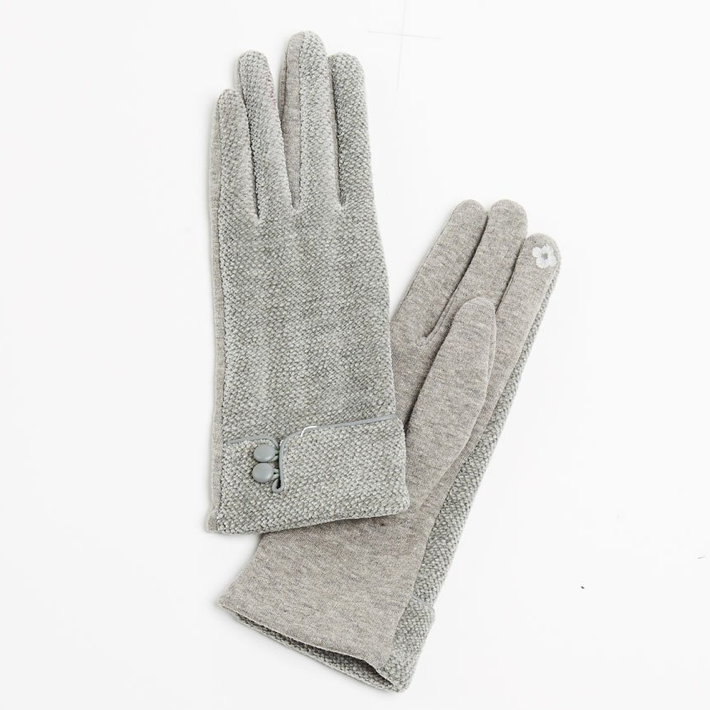 Chenille Button Gloves - Grey - milogiftshop